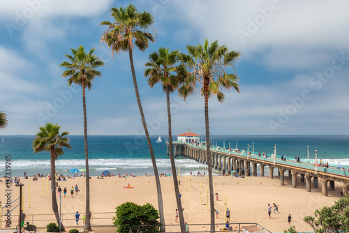 Poster Los Angeles Manhattan Beach and Pier at day time in Southern California in Los Angeles.