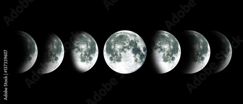 Moon lunar cycle in night sky. NASA.