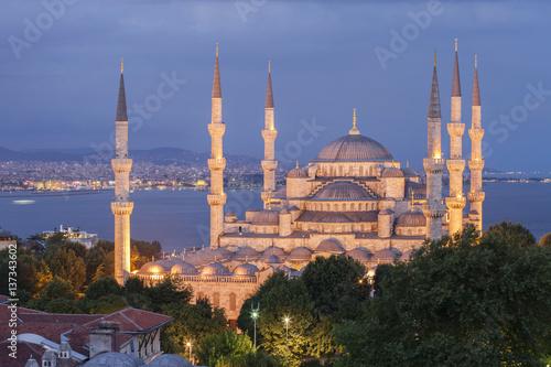 Plakat Podwyższony widok Błękitny meczet przy półmrokiem, Istanbuł, Turcja.