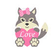 cute wolf wih bow and heart vector and text