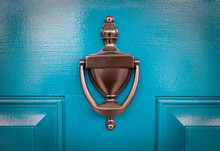 Blue Door With Knocker Close Up.
