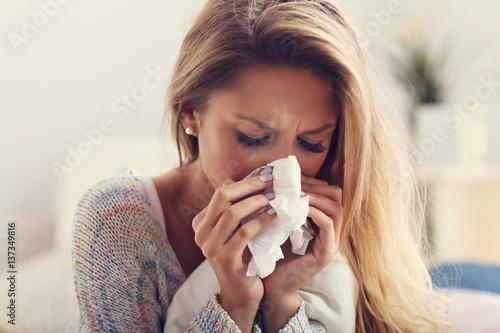Stampa su Tela Sick woman at home