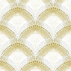 Fototapeta White geometric texture in art deco style