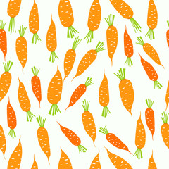 Fototapeta Warzywa Seamless pattern with carrot background and infographic vegetable, food vector