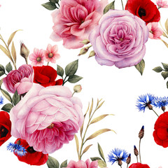 Fototapeta Do sypialni Seamless floral pattern with roses, watercolor.