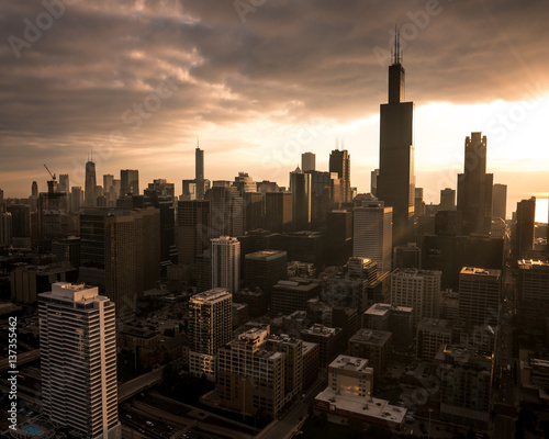 Skyline and city at sunset, Chicago, United States of America