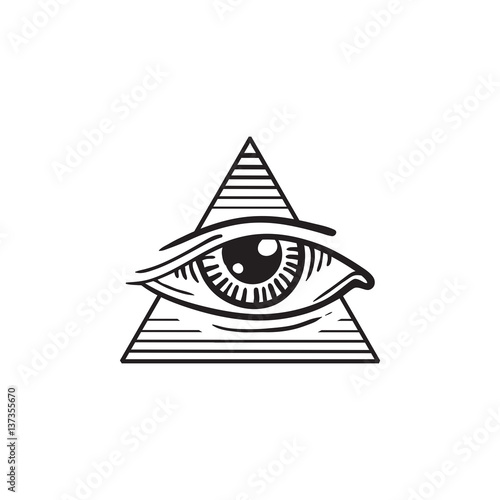 Fényképezés  illustration of eye in the pyramid, in the style of tattoos