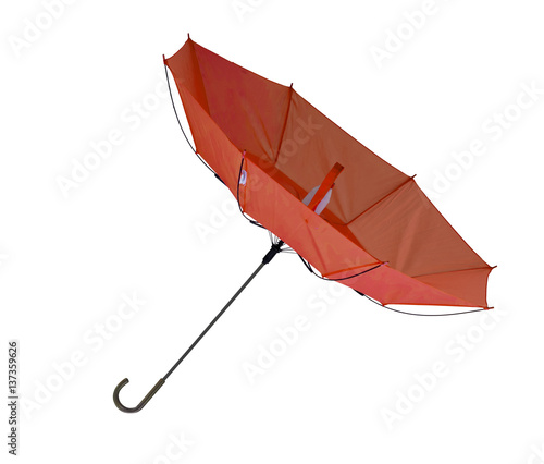 Umbrella, blown inside out, isolated on white. Tablou Canvas