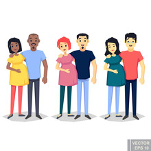 Young Couple Set. Dark Skin Black White Asian Pregnant Woman Man. Flat Style Vector Illustration Family. Cartoon Characters Pregnant Woman With Husband Expecting Parents Standing Flat Illustration