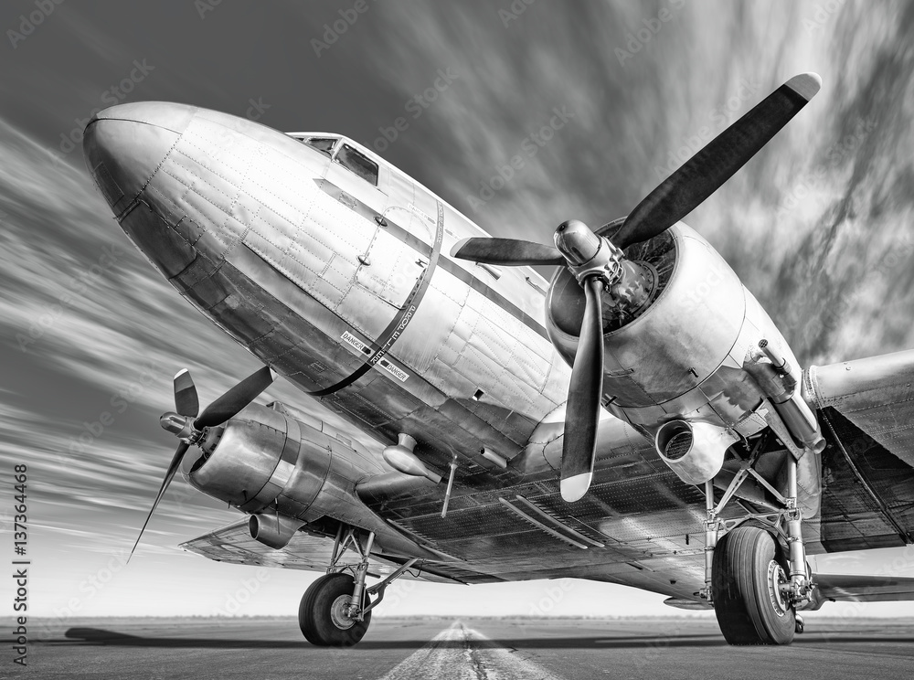 Fotomural historic airplane on a runway