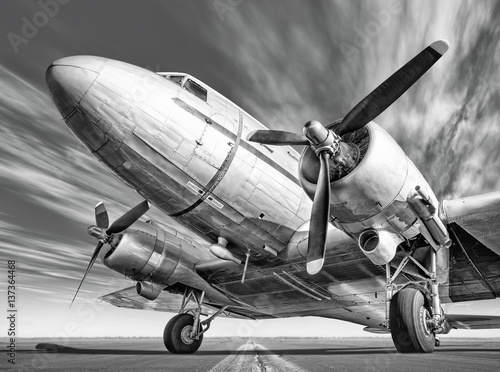 Stampa su Tela historic airplane on a runway
