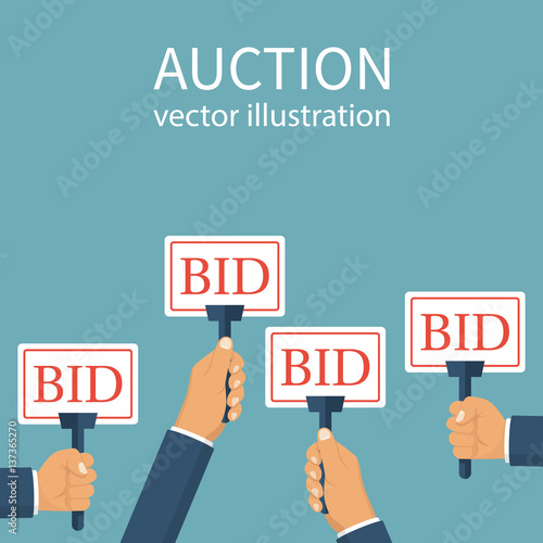Bid Sign In Hand Of People Auction Meeting Business Bidding Process Concept Vector