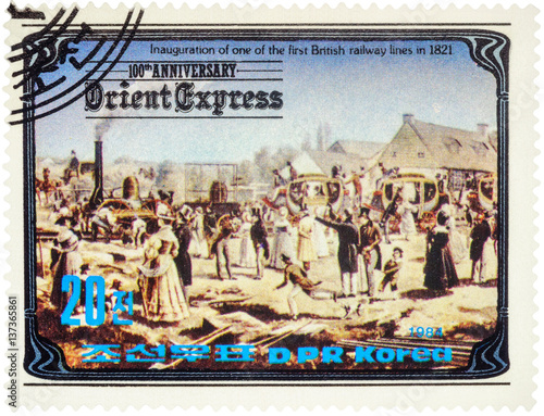 Fotografie, Obraz  Inauguration of the first British railway line in 1821 on postage stamp