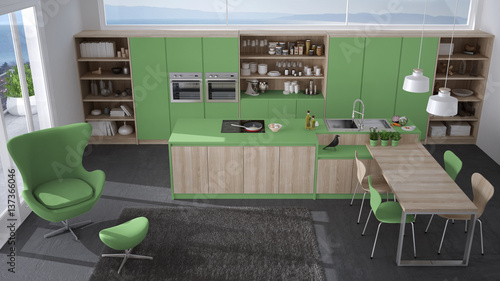 Modern Gray And Green Kitchen With Wooden Details Big Window With