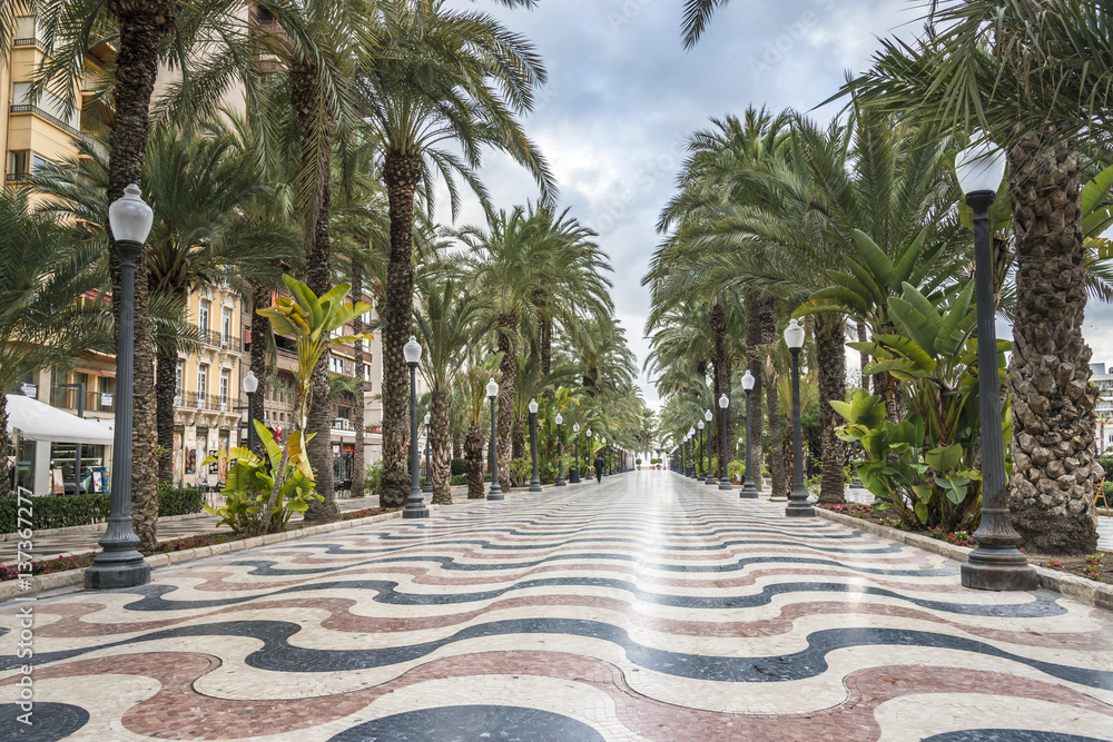 Fototapety, obrazy: The promenade Explanada, Alicante, Costa Blanca, Valencia, Spain