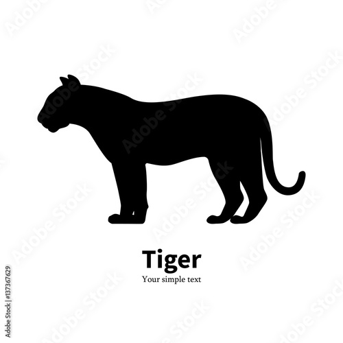Tuinposter Panter Vector illustration of black silhouette of a tiger