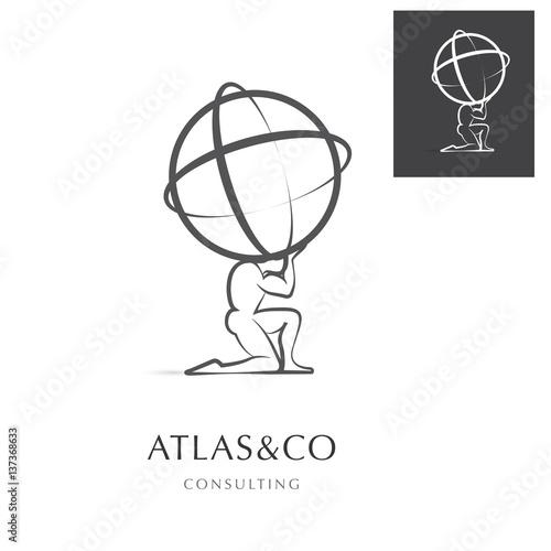 Cuadros en Lienzo  PREMIUM CORPORATE VECTOR LOGO / ICON DESIGN , ATLAS HOLDING THE WORLD