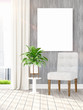 Modern interior with empty frame . 3D rendering
