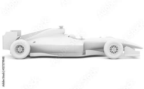 Recess Fitting F1 Formula race car. Side view