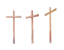 Three Crosses Stand On  Light ...