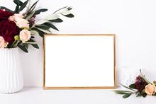 Golden Frame Mock-up On White ...