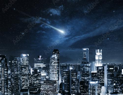 shooting star in the Singapore night sky