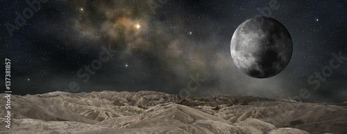 Fotografiet  lunar satellite of an outer planet, 3d illustration