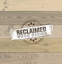 Reclaimed Wood Design Element. Creative Set Of Rustic Labels And Stamps For Custom Interior Workshop Company.