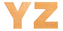 Old Wooden Letters YZ Isolated On White Background. One From The Full Alphabet Set