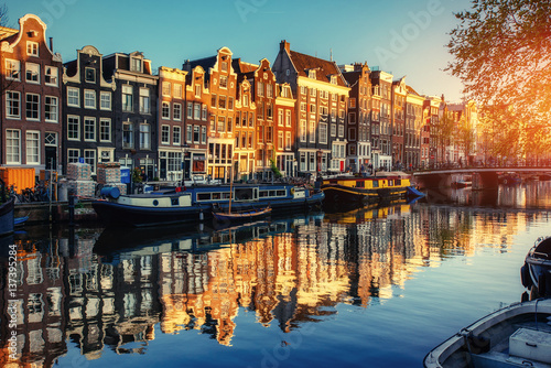 Poster Amsterdam Canal at sunset. Amsterdam is the capital