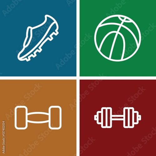 Set of 4 athletic outline icons - Buy this stock vector and explore