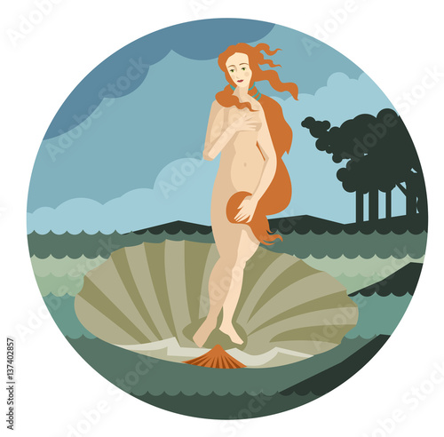 redhead venus standing in a shell in the sea Poster