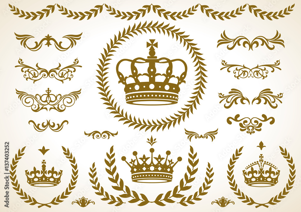 Fototapeta 王冠、月桂樹、飾りセット