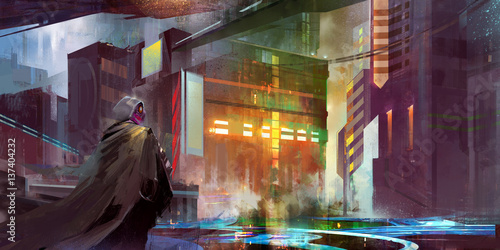 urban landscape of the future cyberpunk Canvas Print