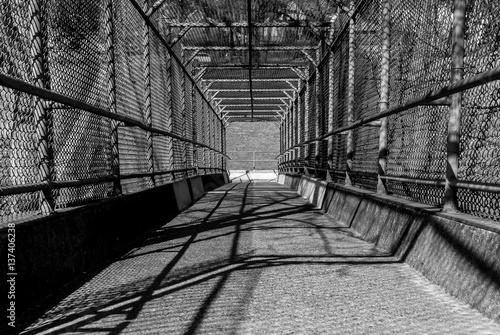 Steel gate walkway walkway bridge industrial design steel gate frame chain link