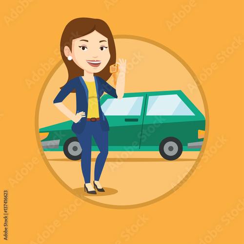 Staande foto Cartoon cars Woman holding keys to her new car.