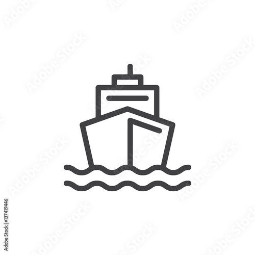 Fotografia  Boat line icon, outline vector sign, linear style pictogram isolated on white