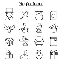 Magic Icon Set In Thin Line Style