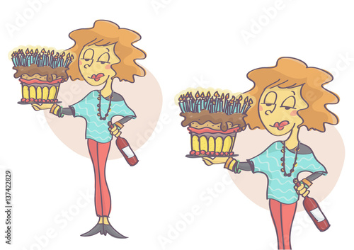 Woman Holding A Birthday Cake With Lot Of Candles And Red Wine Bottle