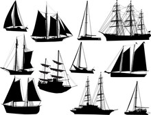 Eleven Black Ships Isolated On...