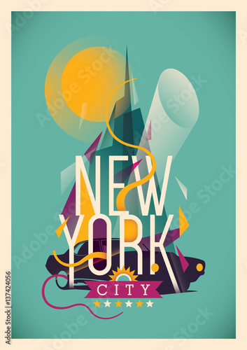 Abstract New York city poster. Vector illustration.