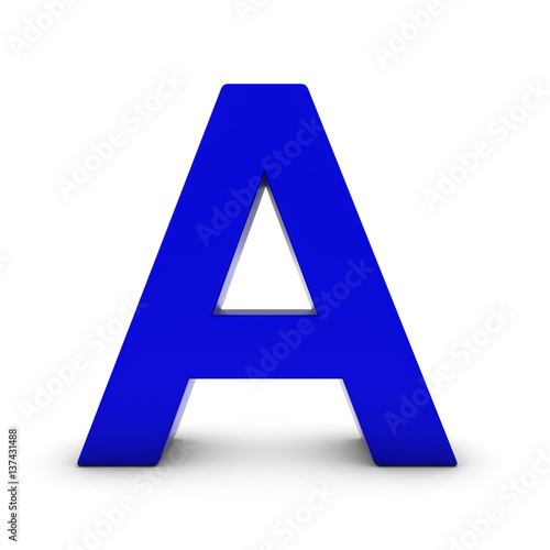 Blue Letter A Isolated on White with Shadows 3D Illustration   Buy