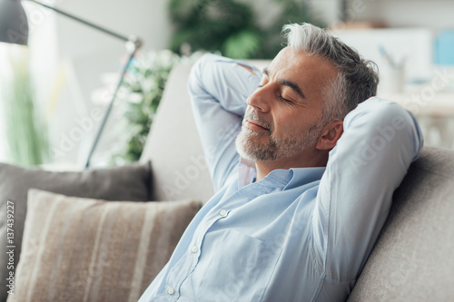 Garden Poster Relaxation Businessman sleeping on the couch