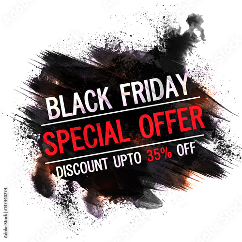Poster Positive Typography Black Friday, Special Offer, Flyer, Banner, Poster, Pamphlet, Discount Upto 35% Off.