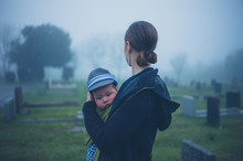 Mother And Baby In Graveyard