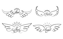 Angel Wings Drawing Vector Ill...