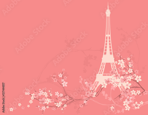 spring Paris vector background with eiffel tower silhouette among blooming sakura tree branches