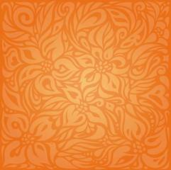 Floral Orange Retro style colorful wallpaper background design