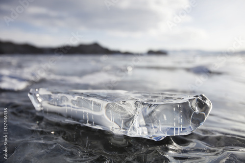 Valokuva  Ice floe. Baikal lake winter landscape.