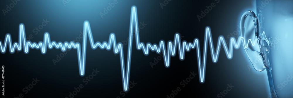 Fototapeta Good hearing, soundwaves, medical artwork